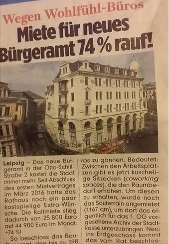 wegen Kuschelbüros steigt die Miete des Bürgeramts in der Otto-Schill-Str.2 um +74%